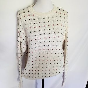 Vintage 80's hand knitted cream polka dot sweater